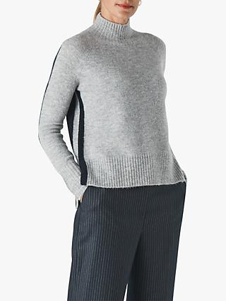 Whistles Colour Block Funnel Neck Jumper, Black/Grey