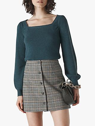 Whistles Wool Yak Blend Square Neck Jumper, Teal