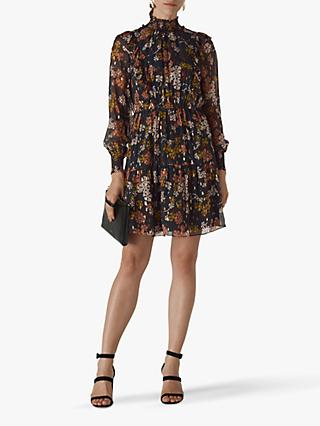 Whistles Clover Floral Ruffle Mini Dress, Black/Multi