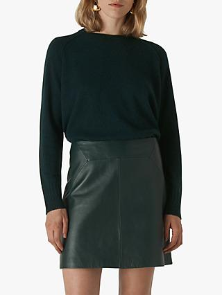 Whistles Cashmere Round Neck Jumper, Dark Green