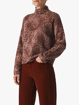 Whistles Big Cat Merino Wool Roll Neck Jumper, Pink/Multi