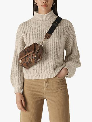 Whistles Textured Ribbed Blouson Sleeve Jumper, Natural