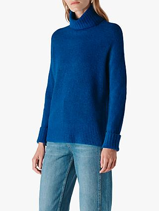 Whistles Oversized Funnel Neck Knit Jumper, Blue