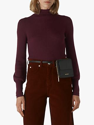Whistles Merino Wool Roll Neck Jumper, Burgundy