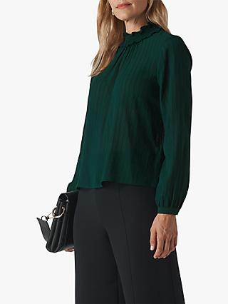 Whistles High Neck Stripe Blouse, Dark Green