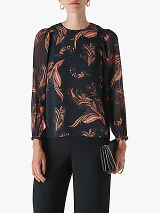Whistles Paisley Leaf Print Blouse, Black/Multi