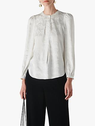 Whistles Cloud Jacquard Blouse, Ivory/Multi