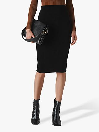 Whistles Velvet Jersey Tube Midi Skirt, Black