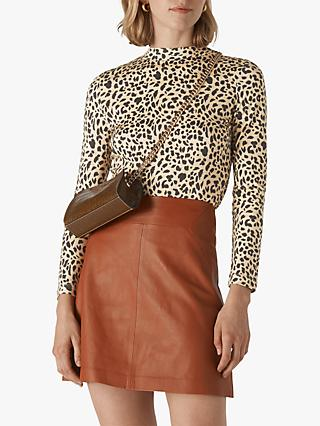 Whistles Brushed Cheetah High Neck Top, Neutral