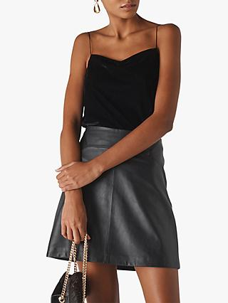 Whistles Velvet Minimal Cami Top, Black