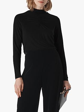 Whistles High Neck Gathered Top, Black