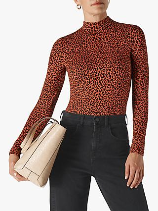 Whistles High Neck Animal Jacquard Top, Orange/Multi