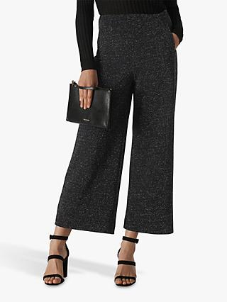 Whistles Metallic Wide Leg Trousers, Black
