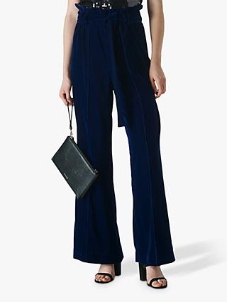Whistles Tie Waist Velvet Trousers, Blue