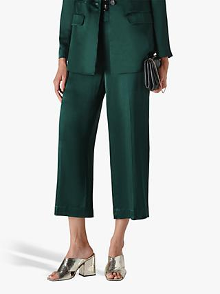 Whistles Satin Cropped Trousers, Dark Green