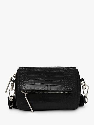 Whistles Millie Croc Leather Cross Body Bag, Black