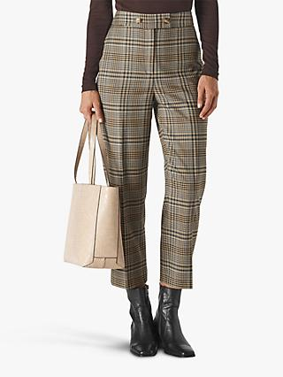 Whistles Check Button Front Trousers, Natural/Multi