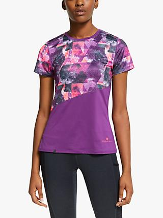 Ronhill Stride Revive Short Sleeve Running Top, Grape Juice/Hot Coral
