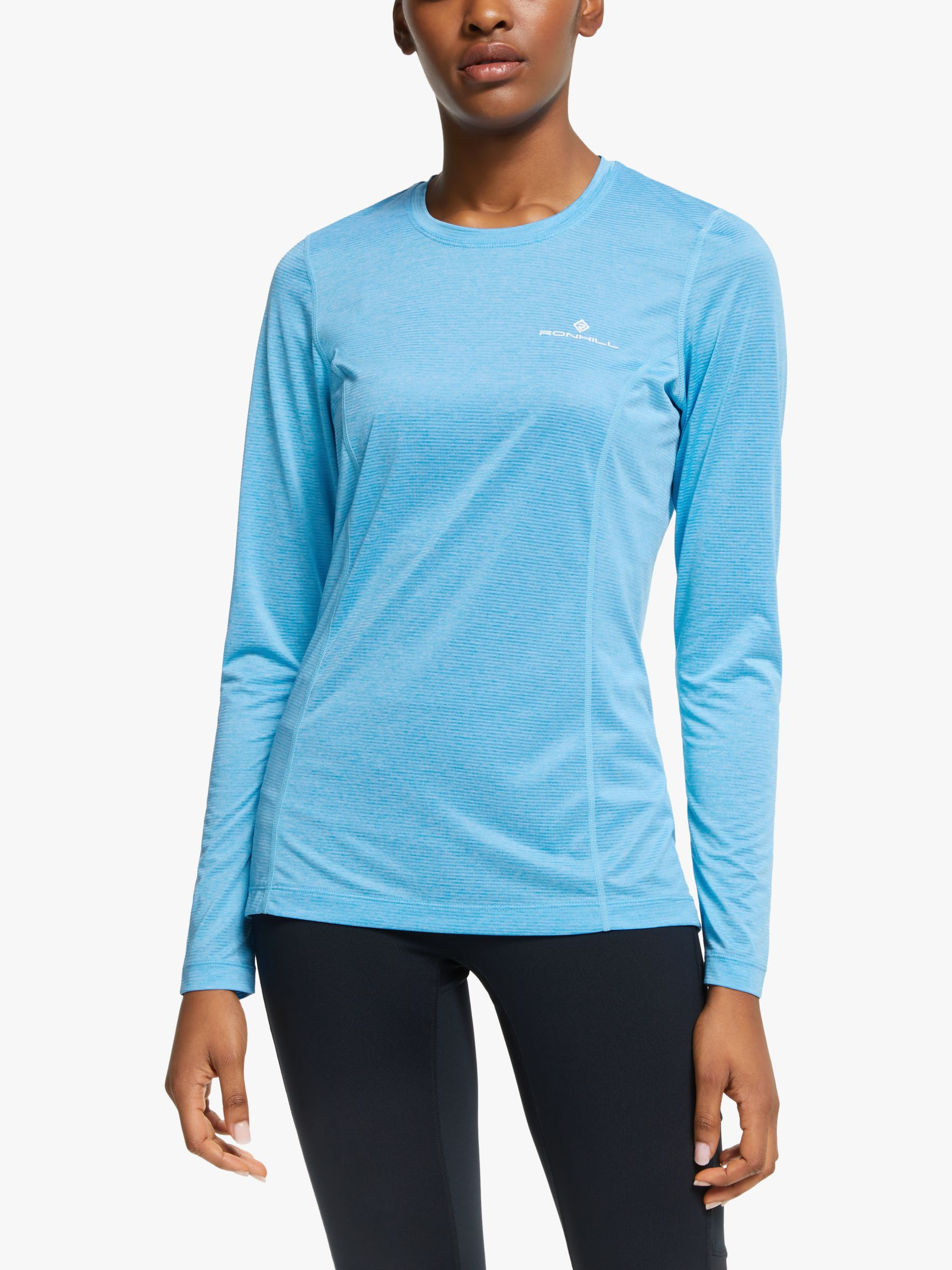 Ronhill Ronhill Stride Long Sleeve Running Top, Sky Blue Marl