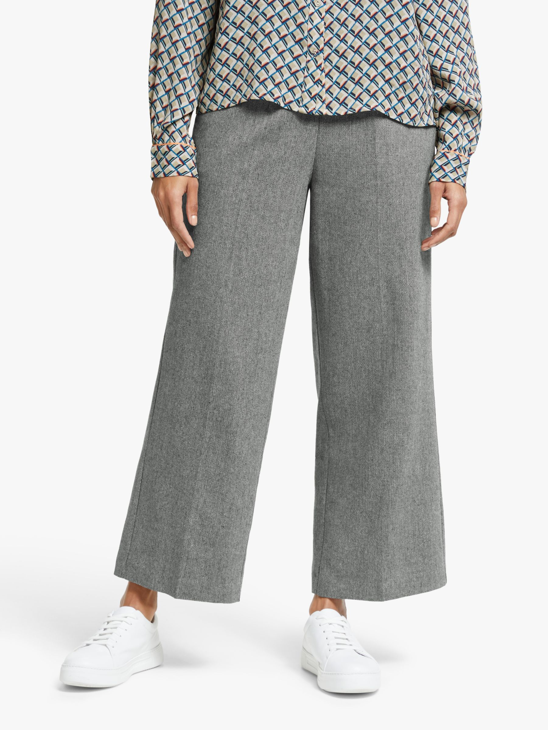 Y.a.s Y.A.S Nana High Waisted Cropped Trousers, Grey