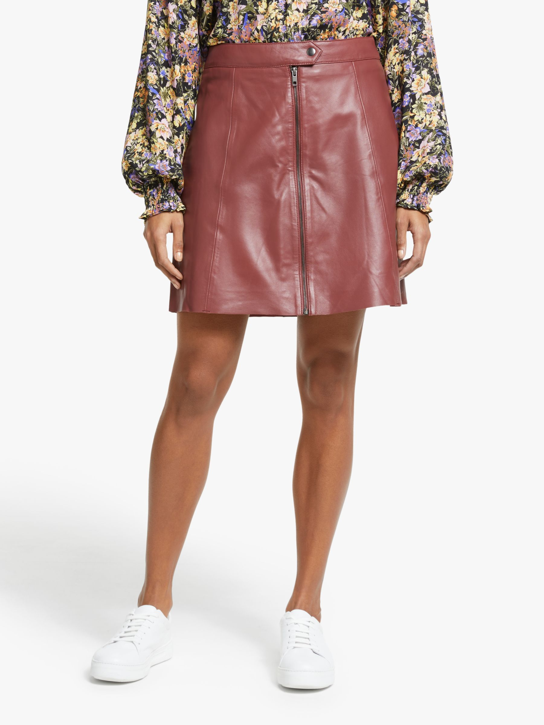 Y.a.s Y.A.S A-Line Mini Leather Skirt, Fired Brick