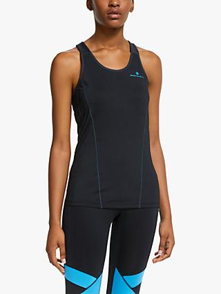 Ronhill Stride Running Tank Top, Black/Sky Blue