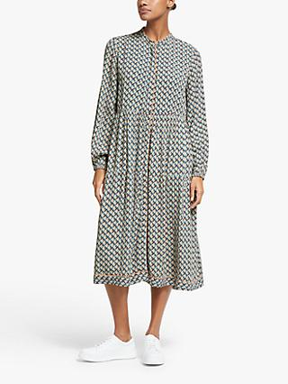 Y.A.S Geoma Geometric Print Midi Dress, Tannin