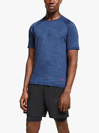 Ronhill Infinity Air-Dry Short Sleeve Running Top, Midnight Blue/Flame