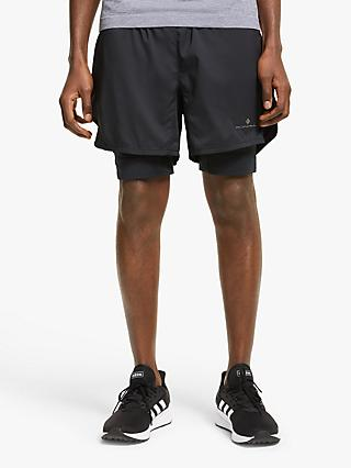 "Ronhill Stride Revive Twin 5"" Running Shorts, All Black"