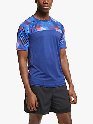 Ronhill Stride Revive Short Sleeve Running Top, Midnight Blue/Flame