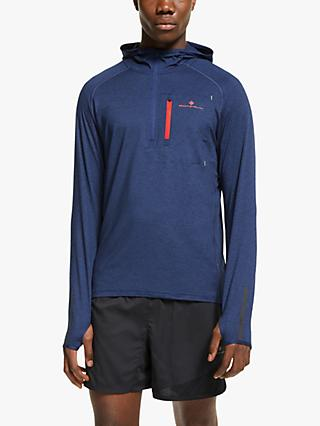 Ronhill Momentum Workout Training Hoodie, Midnight Blue/Flame