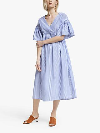 Mother of Pearl Tencel™ V-Neck Stripe Dress, Blue/Ivory