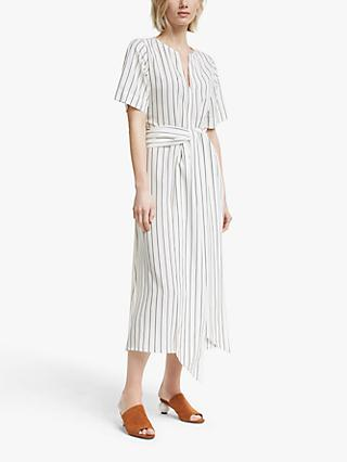 Mother of Pearl Tencel™ Tie Waist Stripe Dress, Ivory/Navy