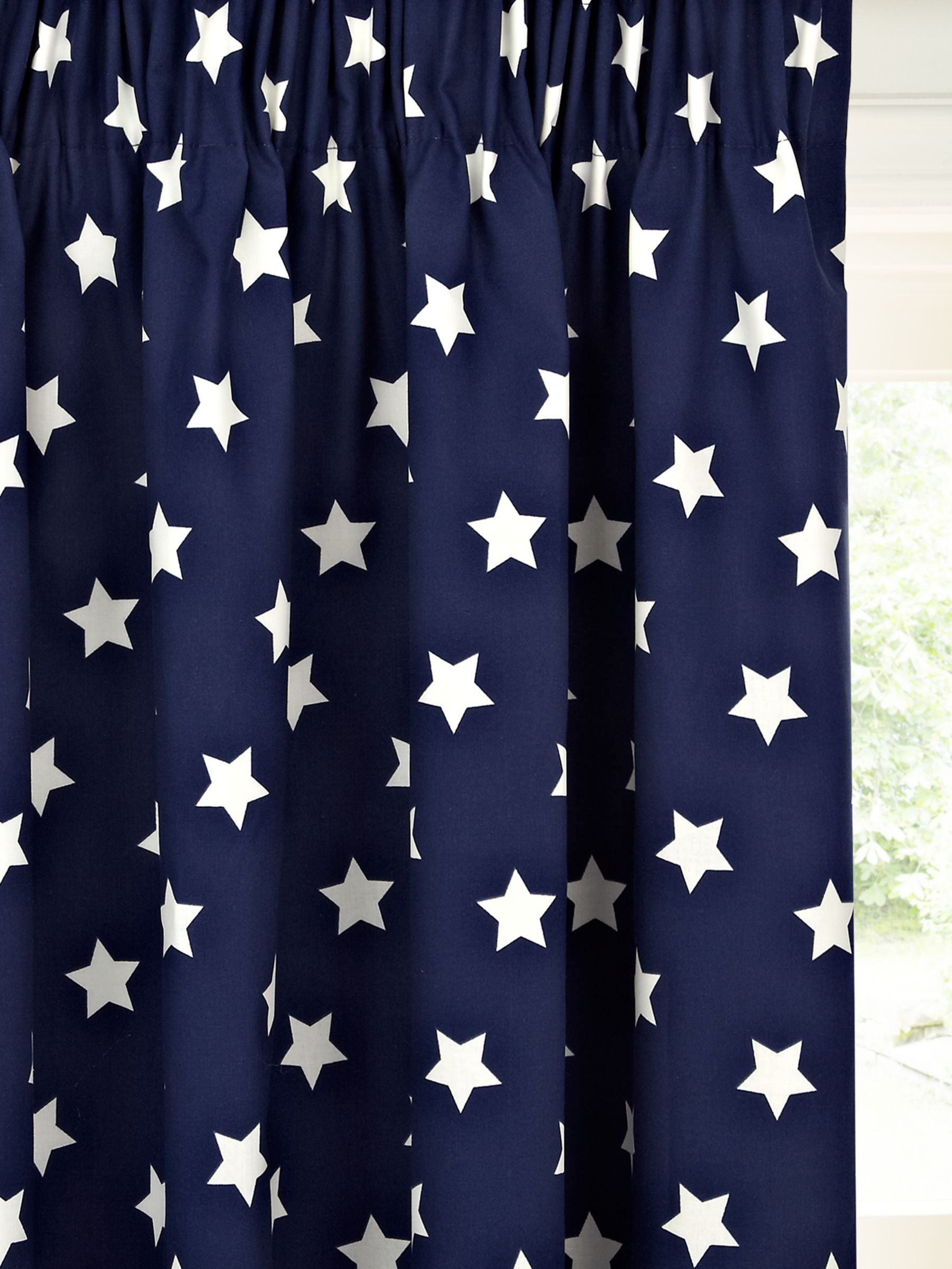 little home at John Lewis Glow in the Dark Star Print Pencil Pleat Blackout Children's Curtains, Navy