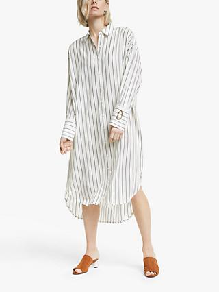 Mother of Pearl Tencel™ Stripe Shirt Dress, Ivory/Navy