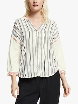 Yerse Embroidered Stripe Blouse, Crudo