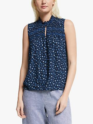 Yerse Sleeveless Abstract Top, Blue