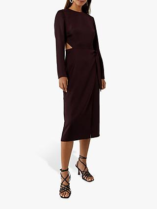 Warehouse Satin Cut Out Midi Dress, Berry