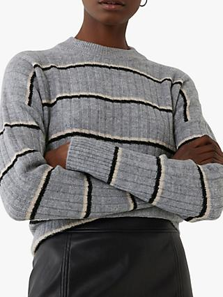 Warehouse Cosy Fine Striped Ribbed Jumper