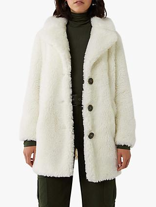 Warehouse Single Breasted Teddy Coat