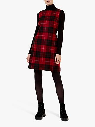 Hobbs Daphne Wool Dress, Red/Black