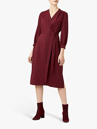 Hobbs Ellie Shirt Dress, Wine