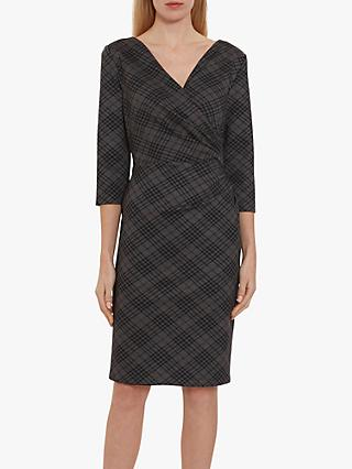 Gina Bacconi Baila Check Dress, Dark Grey