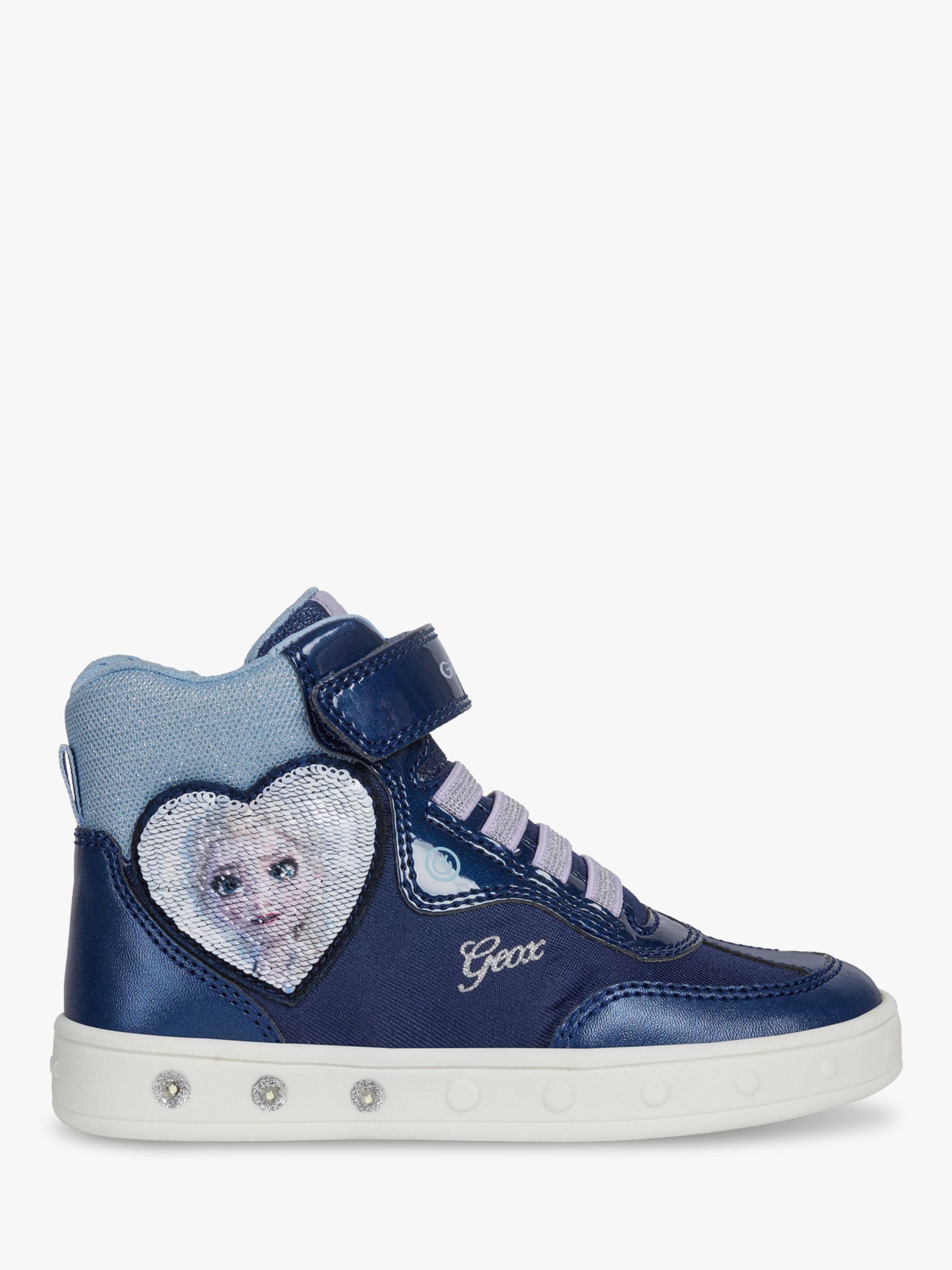 Geox Geox Children's Skylin High Top Riptape Frozen Elsa Trainers, Navy/Lilac