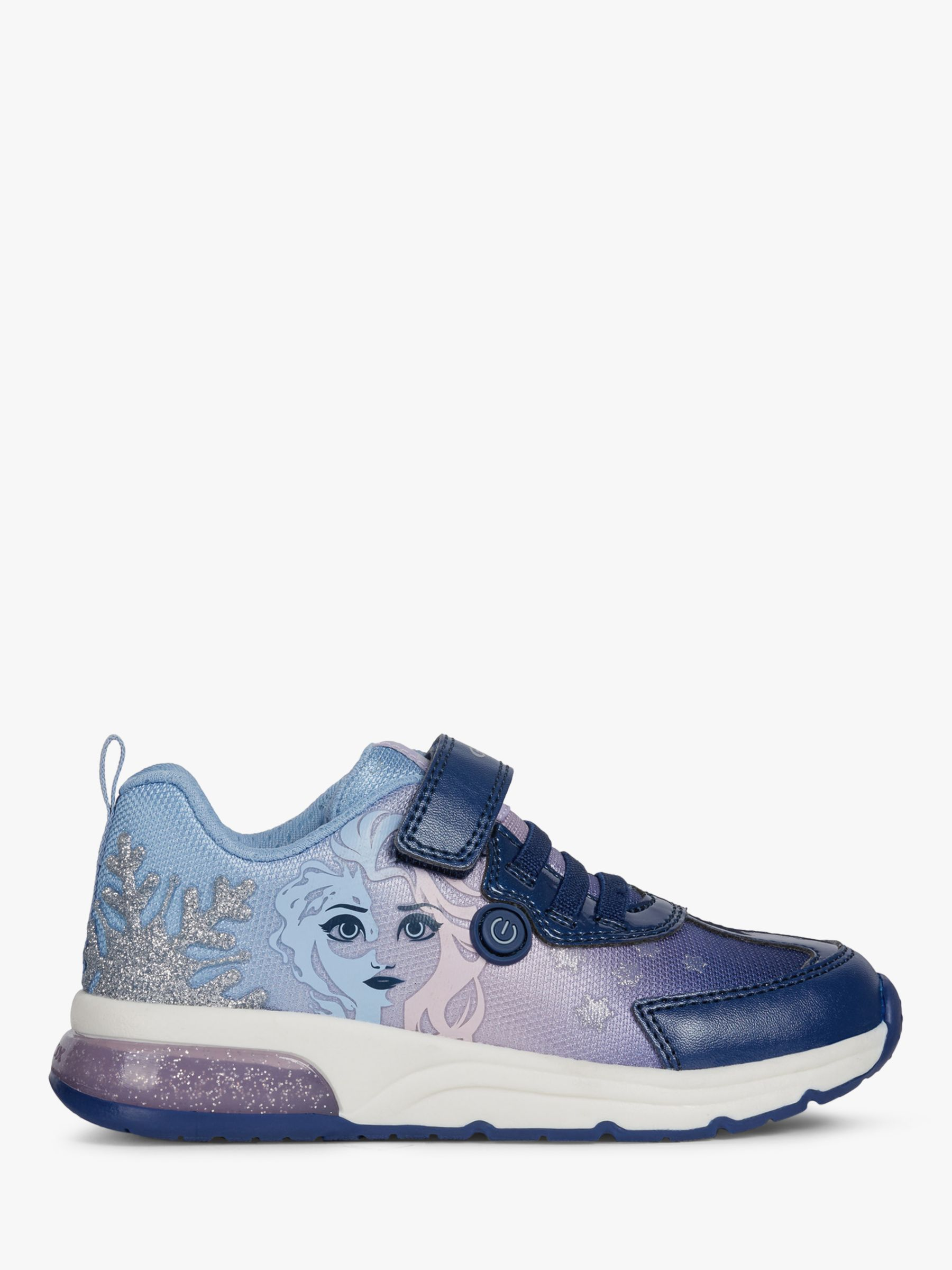 Geox Geox Children's Spaceclub Frozen Riptape Trainers, Navy/Lilac