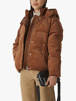 Whistles Casey Cord Puffer Jacket, Mid Brown