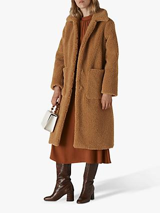 Whistles Teddy Button Up Coat, Neutral