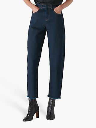 Whistles High Waist Barrel Leg Jeans, Dark Denim