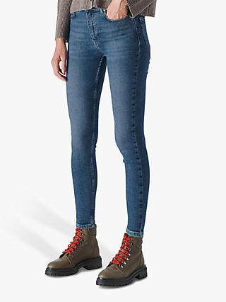 Whistles Sculptured Skinny Jeans, Blue Denim