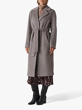 Whistles Darcey Drawn Belted Coat, Grey
